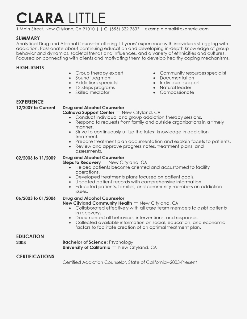 School Counselor Resume - Sample Counseling Resume