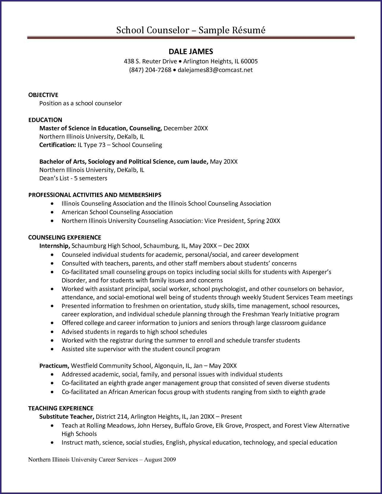 School Counselor Resume Template - 23 Camp Counselor Resume