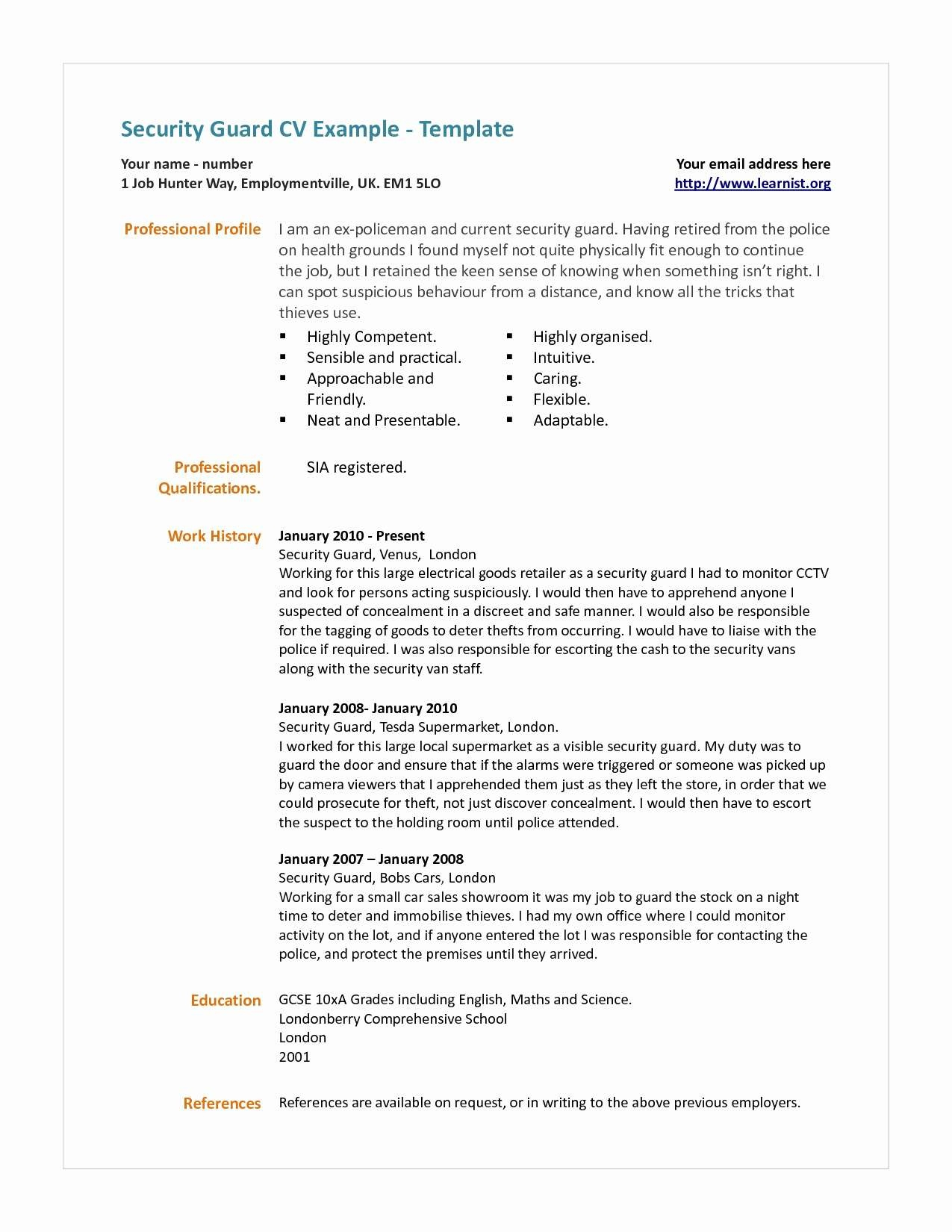 Security Guard Resume - Security Resume Objective Examples Luxury Security Guard Resume