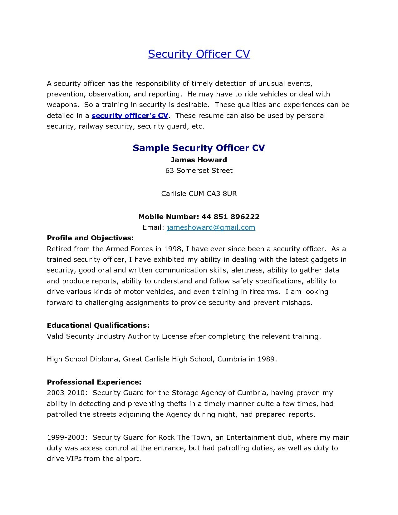 Security Guard Resume Skills - Sample Security Ficer Cover Letter New Security Guard Cover Letter
