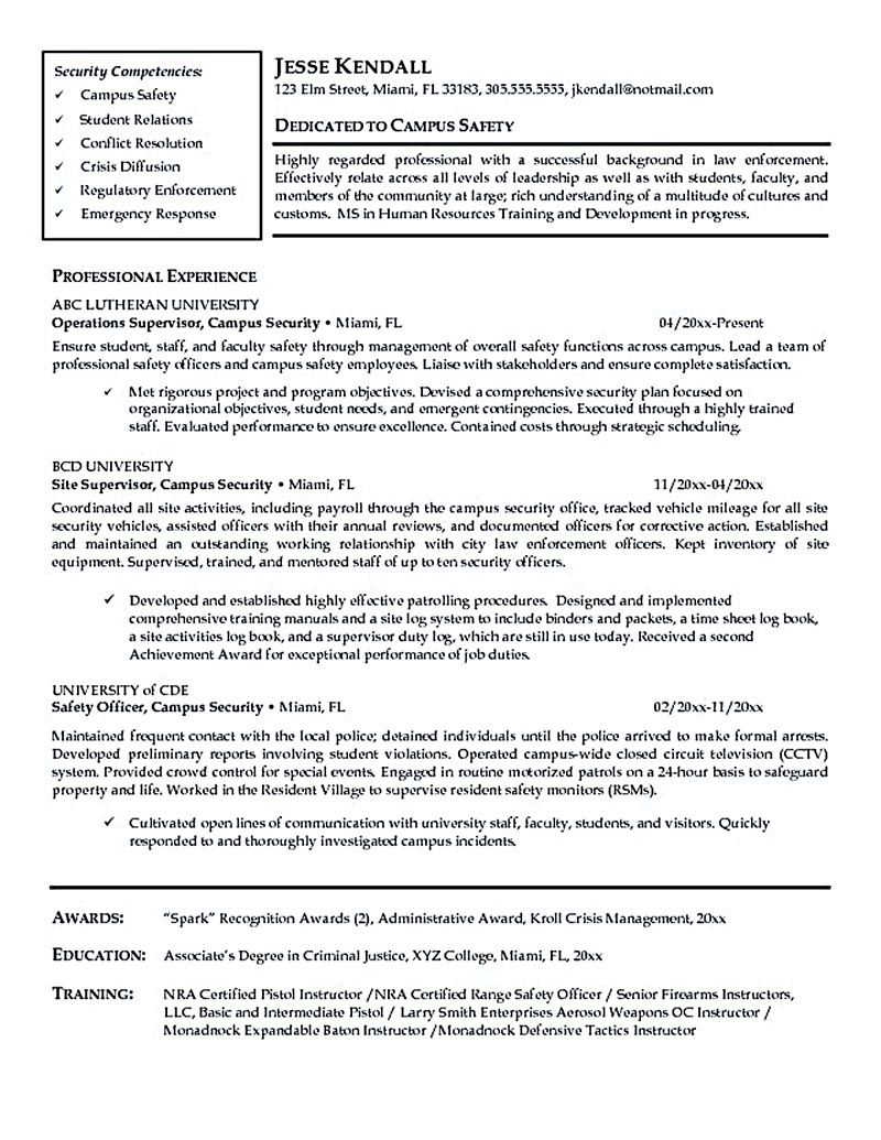 Security Officer Resume Template - Pin On Resume Samples Pinterest
