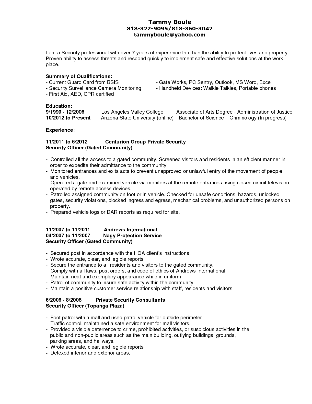Security Officer Resume Template - Pin by Latestresume On Latest Resume Pinterest
