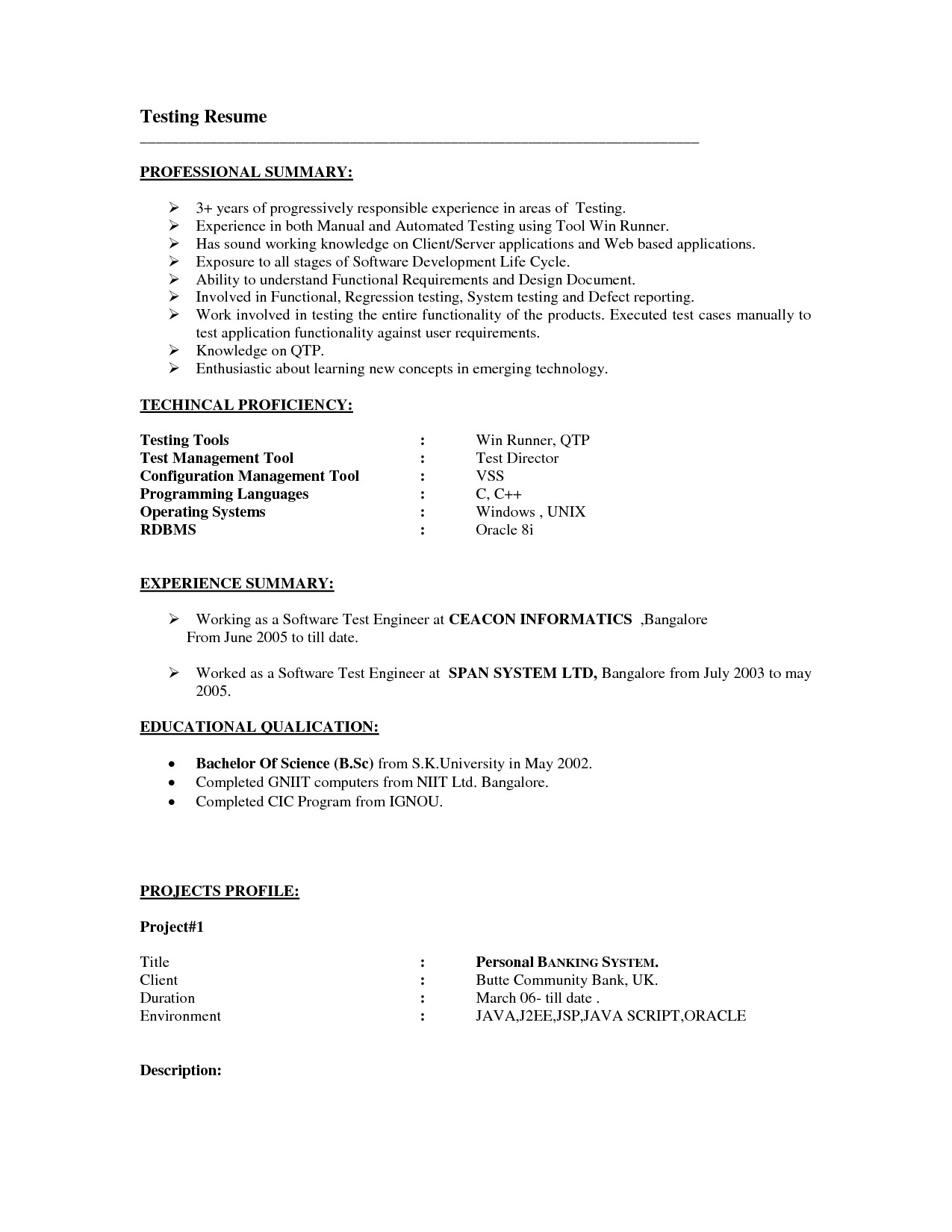 Selenium Automation Tester Resume - Sample Resume for Selenium Automation Testing Best Qtp Test