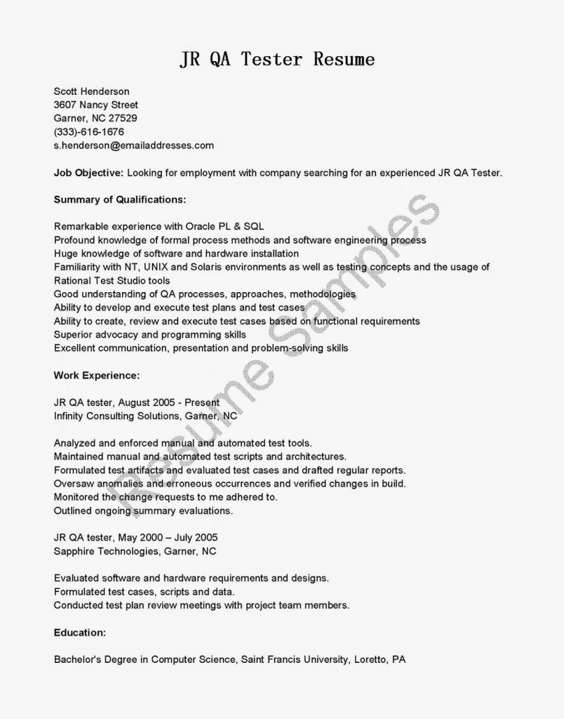 Selenium Automation Tester Resume - 2017 Sample Resume for Selenium Automation Testing Vcuregistry