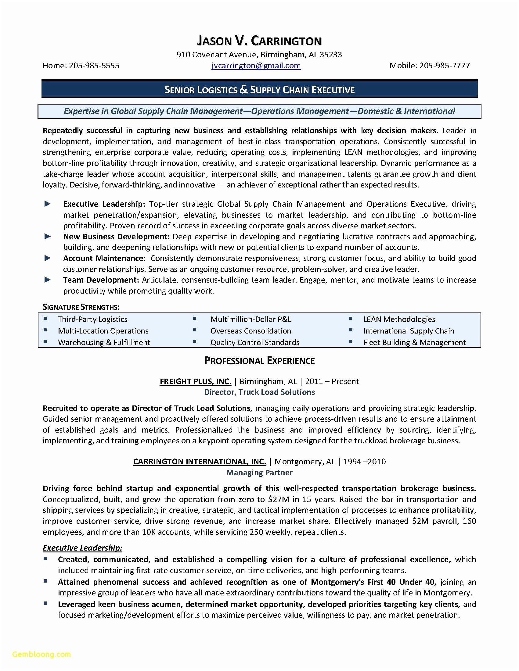 Senior Executive Resume Template - Supply Chain Management Resume Sample