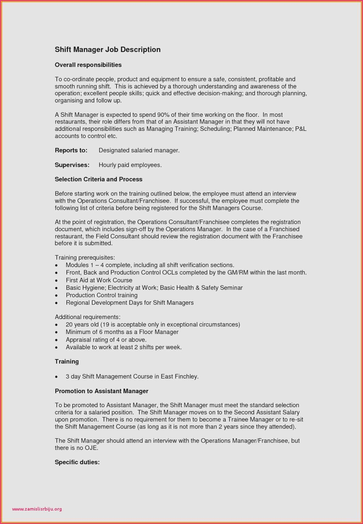 Shift Manager Resume - Shift Manager Resume Data Center Manager Resume Free Resume Template