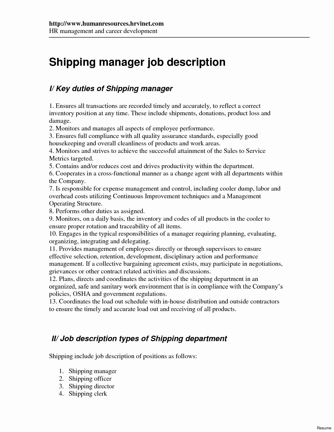 Shipping and Receiving Clerk Job Description for Resume - 46 Lovely Receiving Clerk Resume Sample Resume Templates Ideas