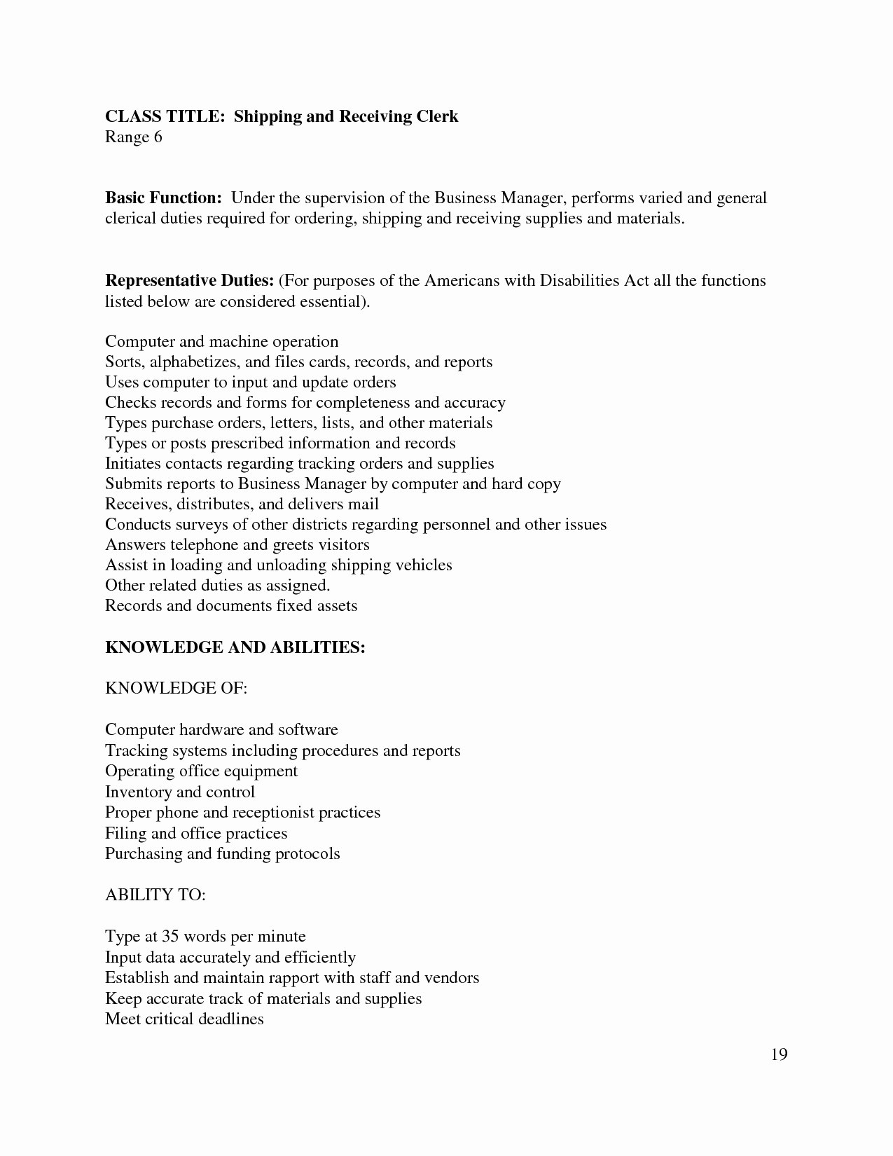 14 shipping clerk resume collection