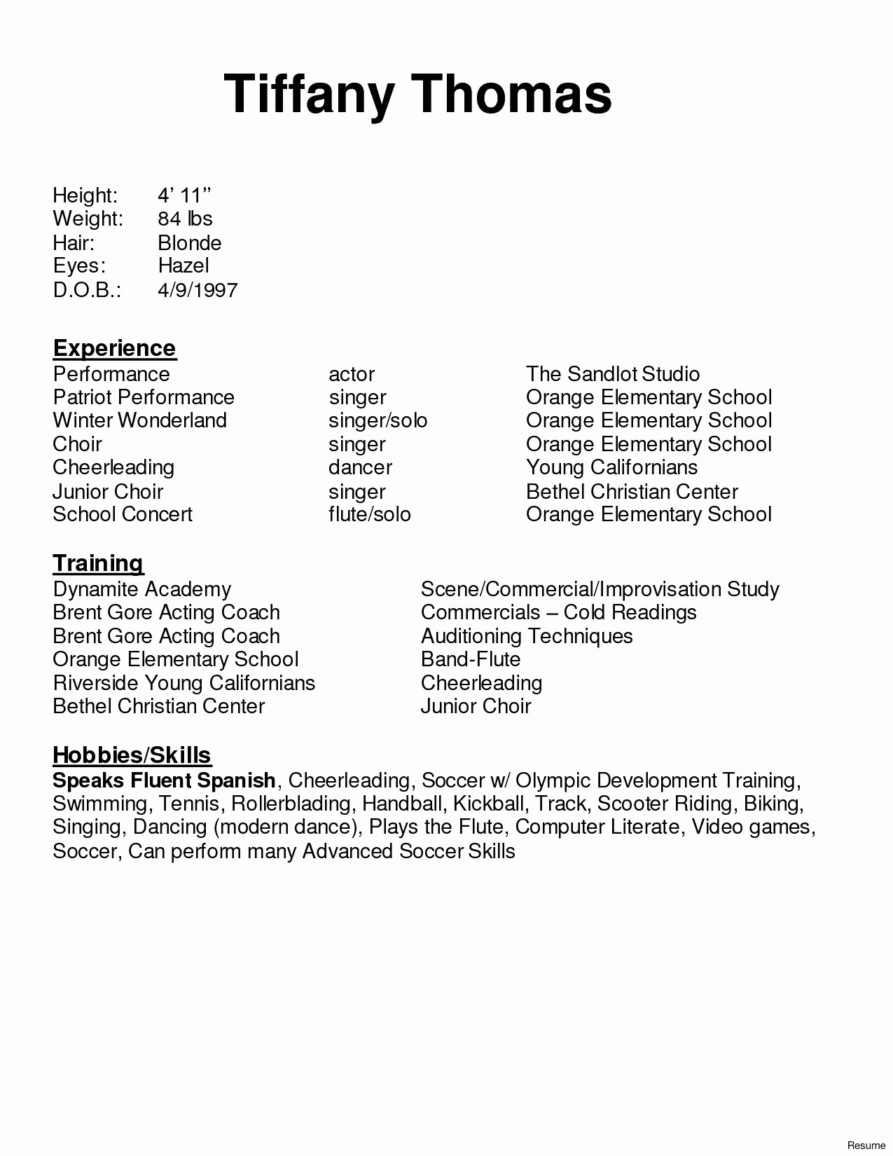 Singer Resume Template - Puter Literacy Skills Examples for Resume Lovely Free Acting