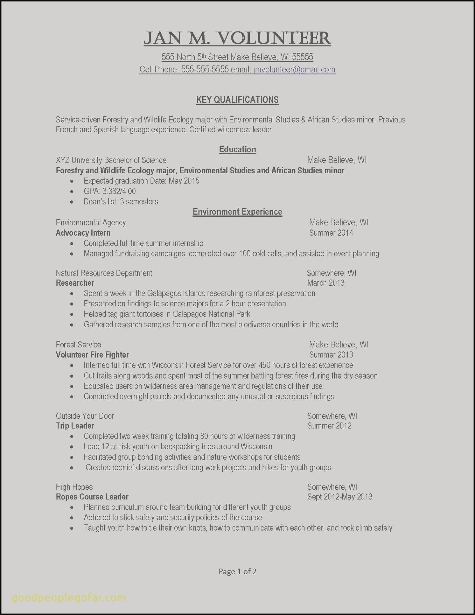 single job resume Collection-Resume For Work Valid Example Job Resume Awesome Examples Resumes Ecologist Resume 0d Job 4-i