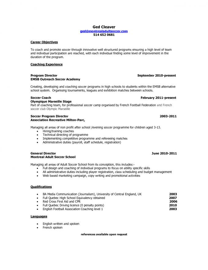 Soccer Coach Resume - soccer Resumes 56 New Football Coaching Resume Samples Template