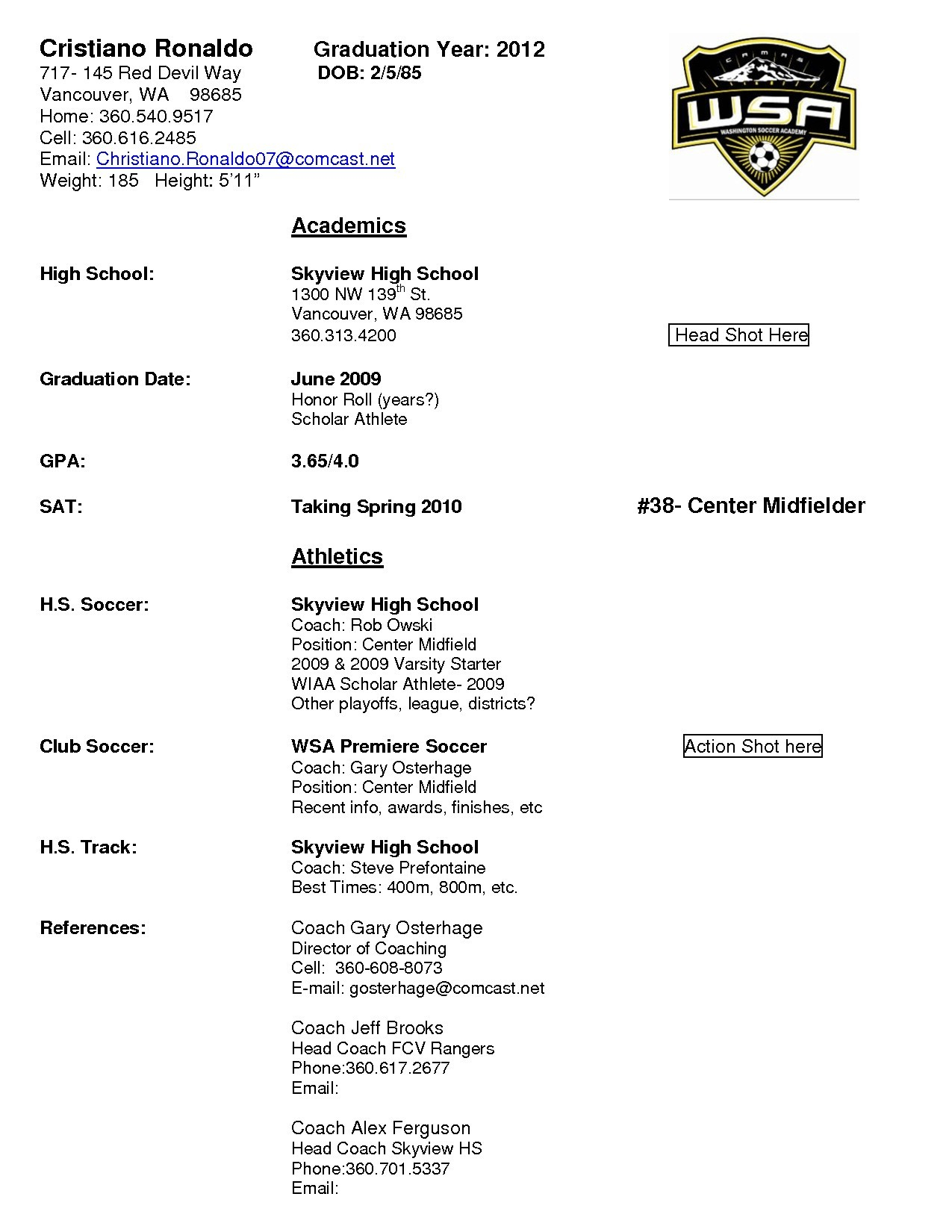 Soccer Coach Resume Template - soccer Coach Resume Fresh soccer Coach Resume Template Awesome