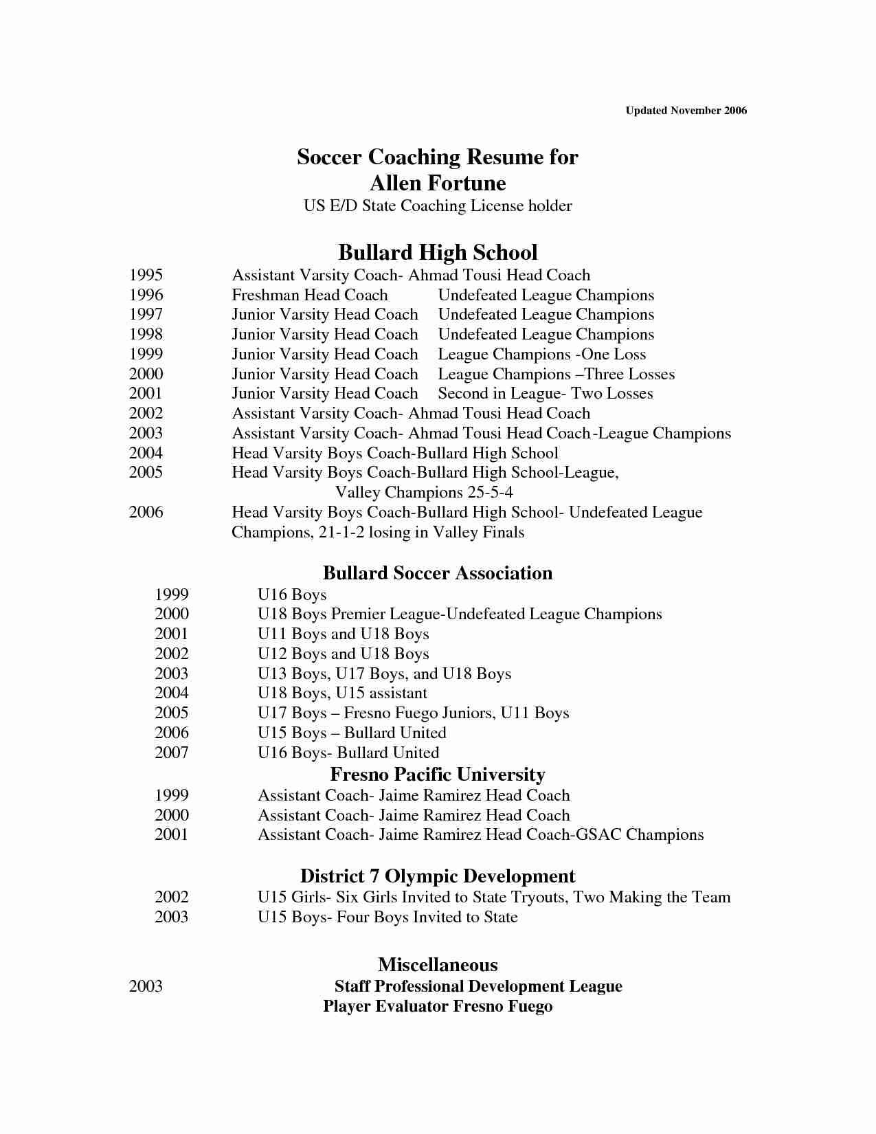 Soccer Coaching Resumes - Basketball Resume Template for Player 2018 Youth Basketball Coach
