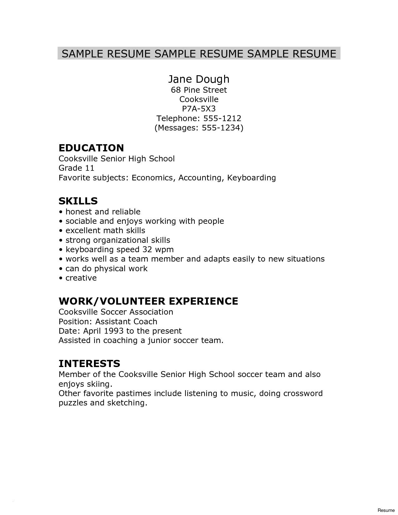 Soccer Resume Template for College - Resume for High School Students with No Experience Template Awesome