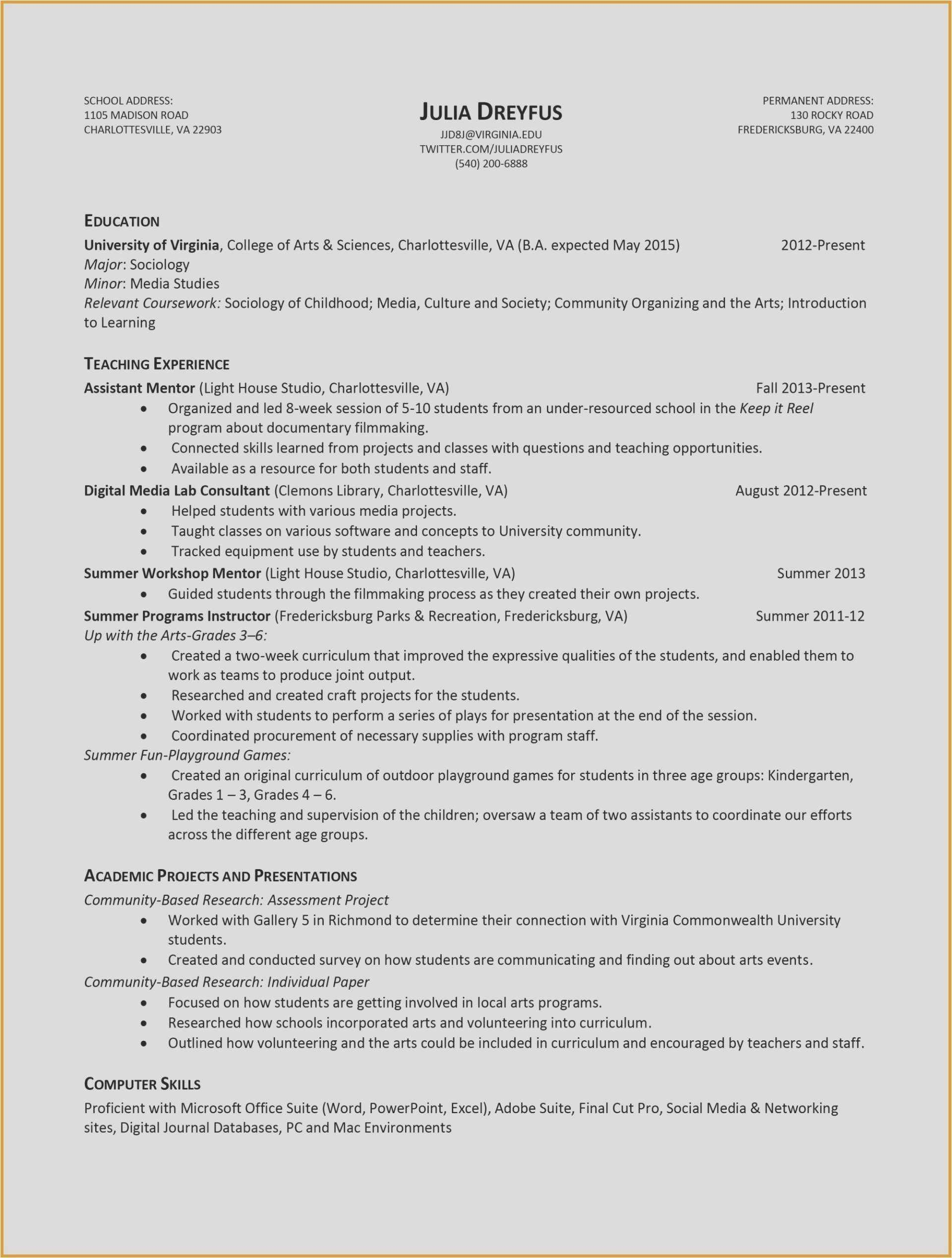 Social Media Skills On Resume - 29 Resume Examples for College Free