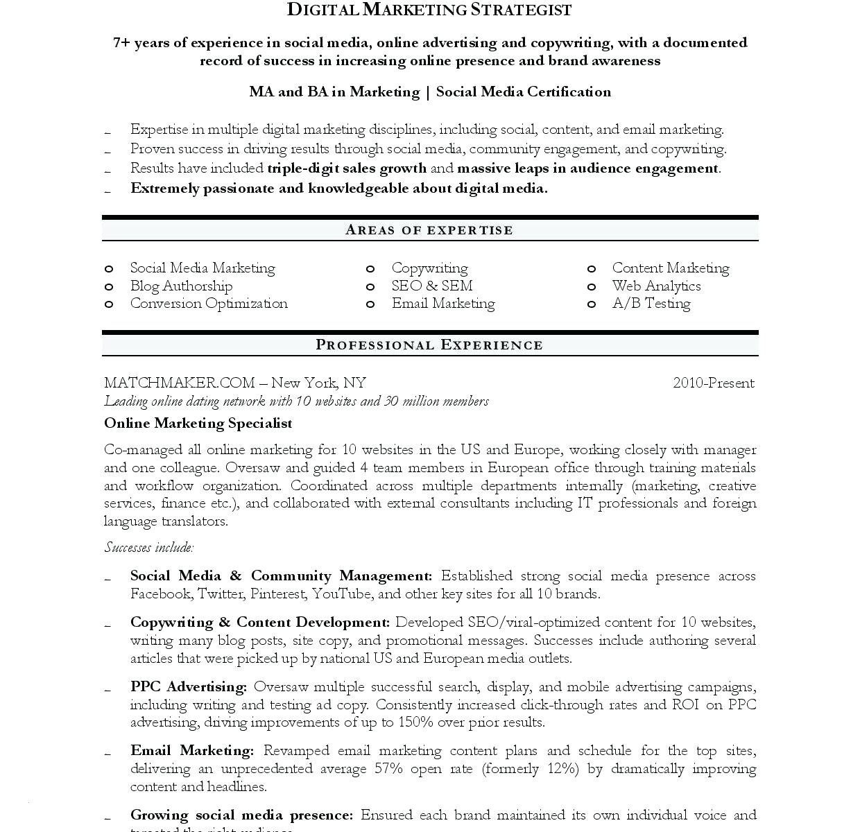 Social Media Specialist Resume - Digital Marketing Resume Template New Email Marketing Resume Sample