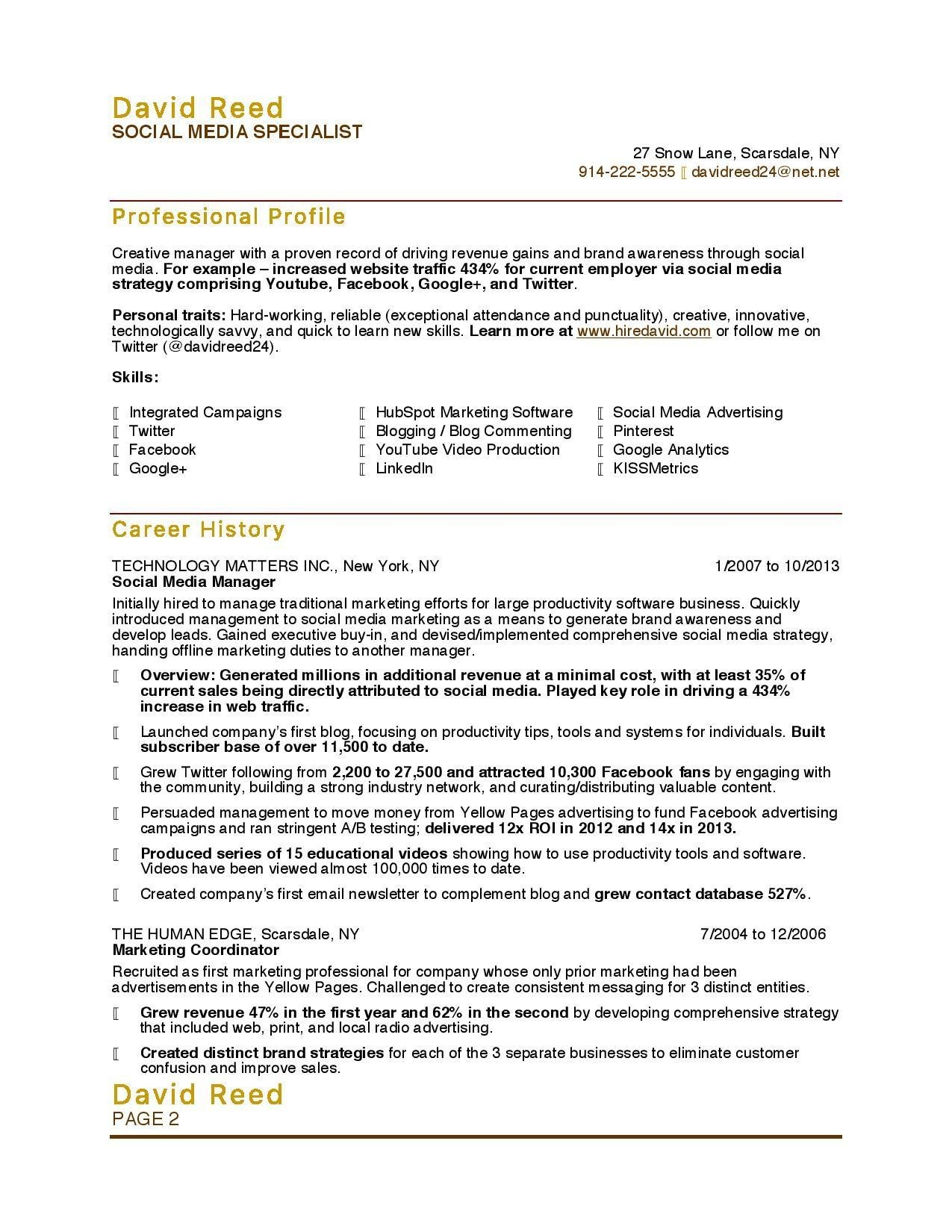 Social Media Specialist Resume Sample - Marketing Resume Samples Luxury Luxury Grapher Resume Sample