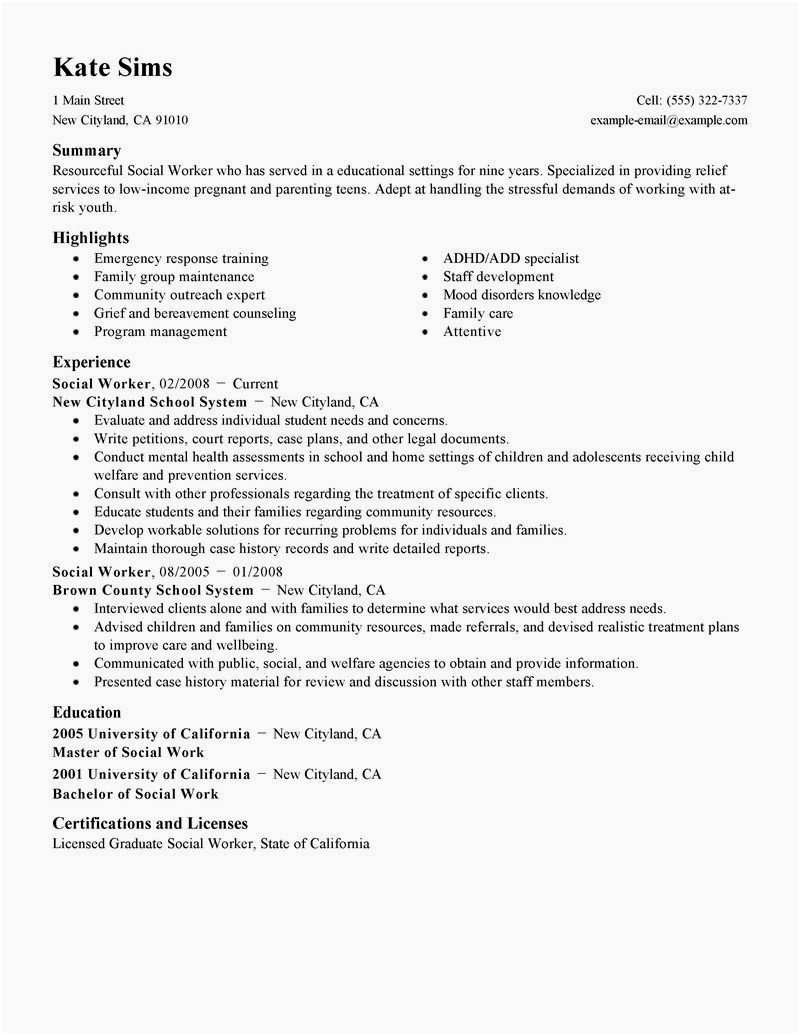 Social Work Resume Template - Sample social Work Resume Best social Worker Resume Sample Lovely
