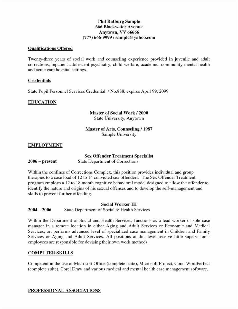 Social Work Resume Template Free - 41 New Sample Resumes for Teachers