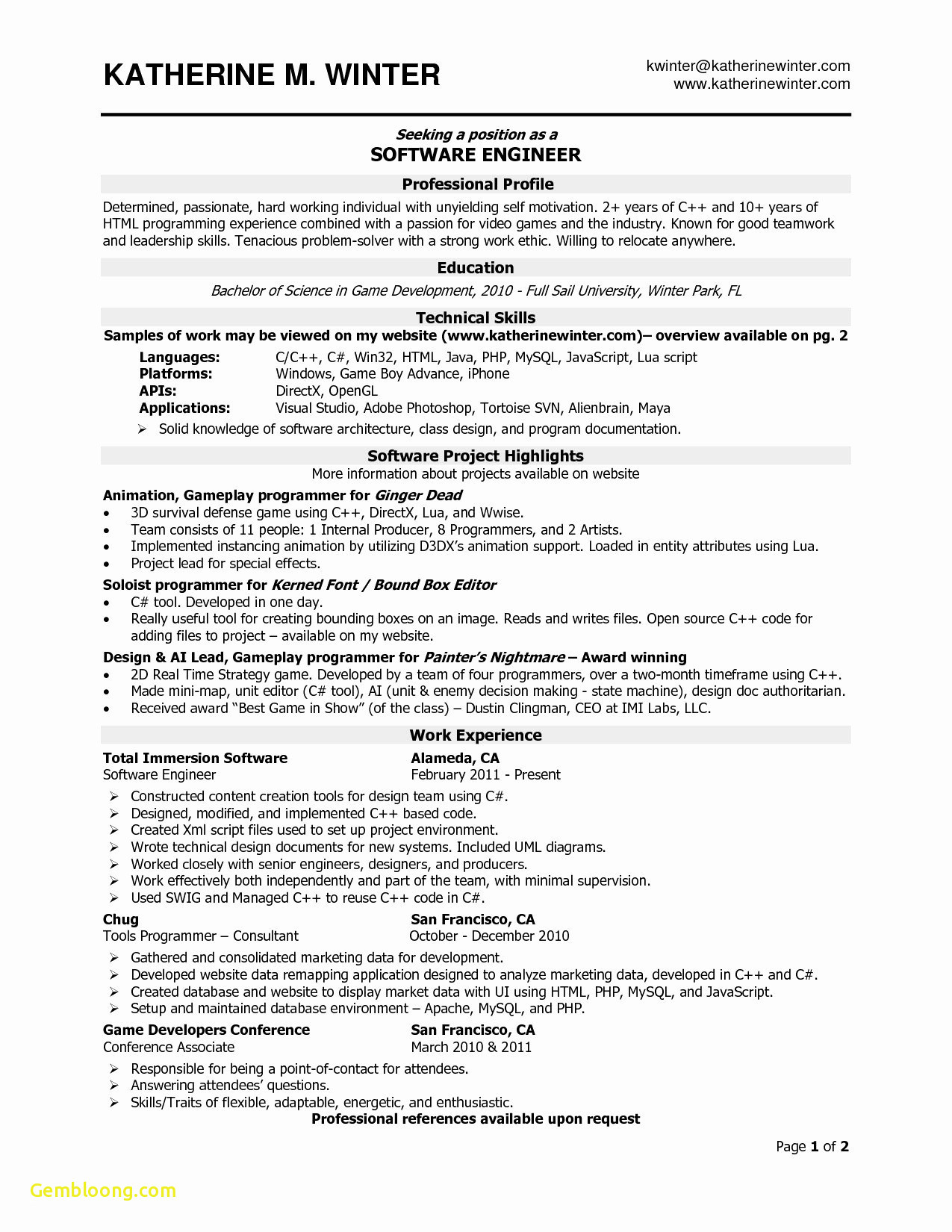 Software Developer Resume Template - software Developer Sample Resume Lovely Template Engineer Templates