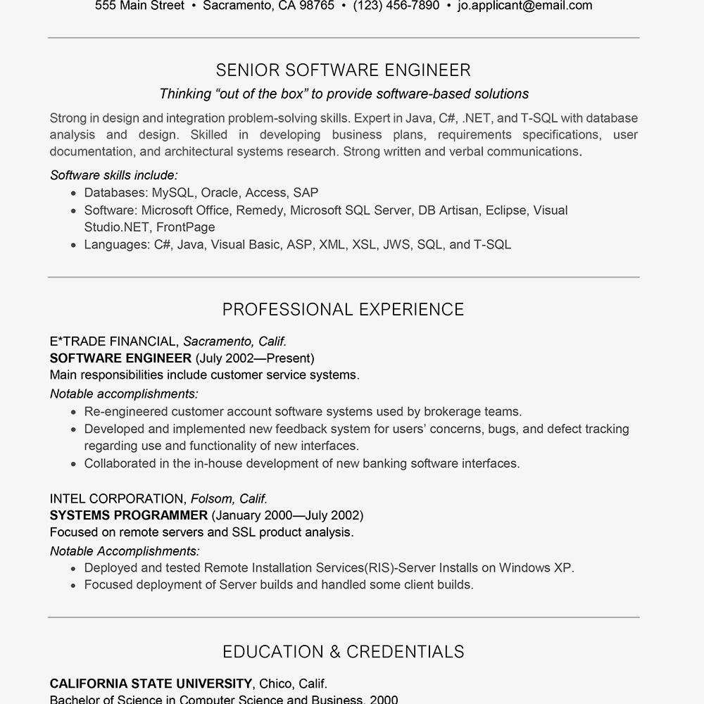 Software Engineer Resume Summary - software Engineer Resume Sample