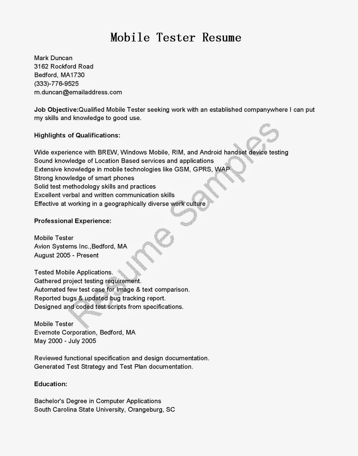 12 software tester resume sample samples