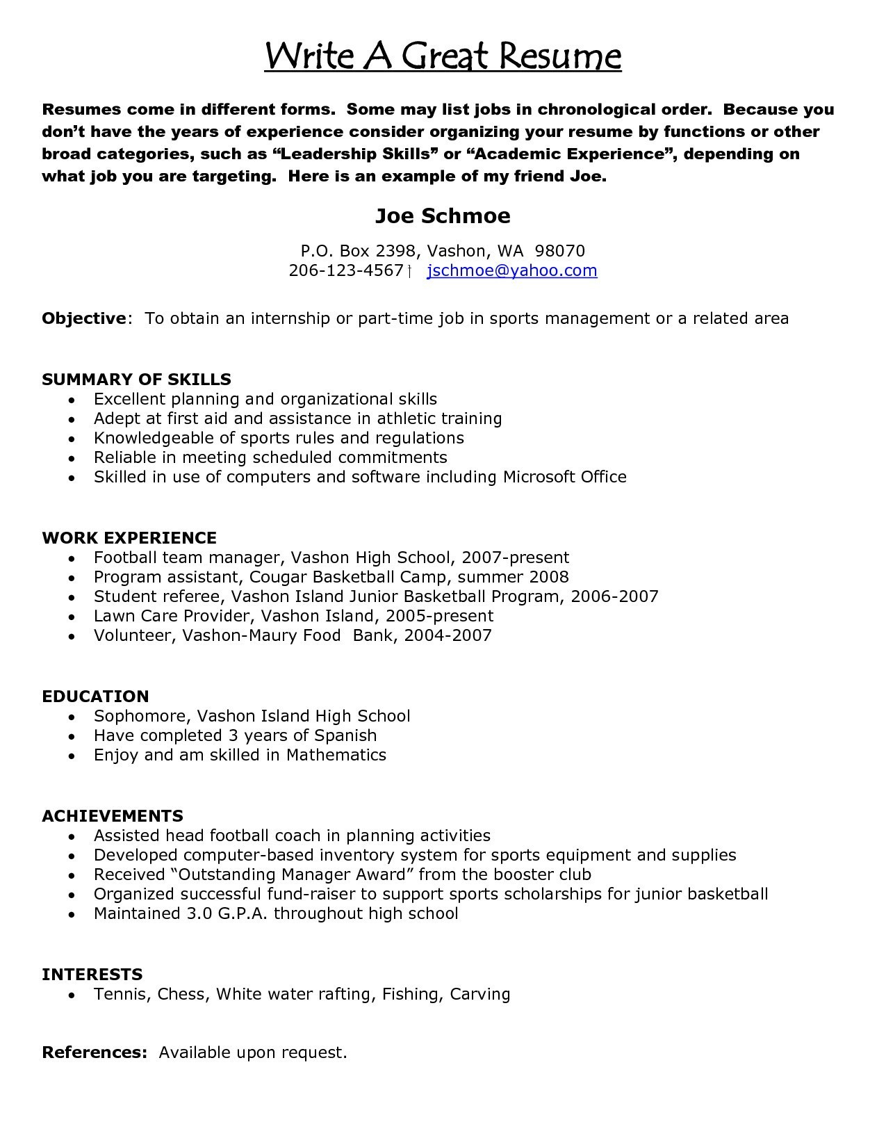 Sports Management Resume - Perfect Your Resume Save How to Write A Perfect Resume Examples