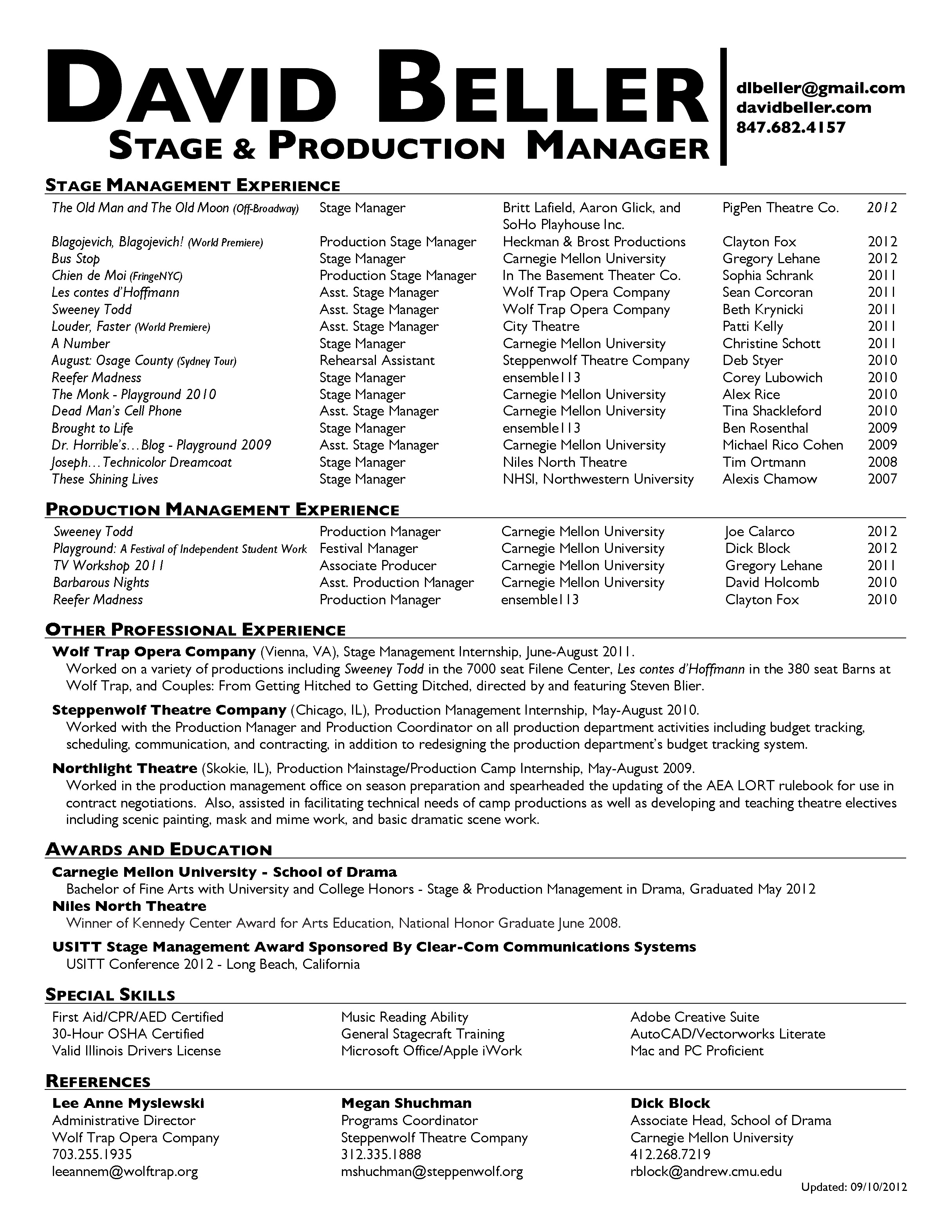 Stage Manager Resume Template - Stagehand Resume Amazing Stagehand Resume Sample Model Example