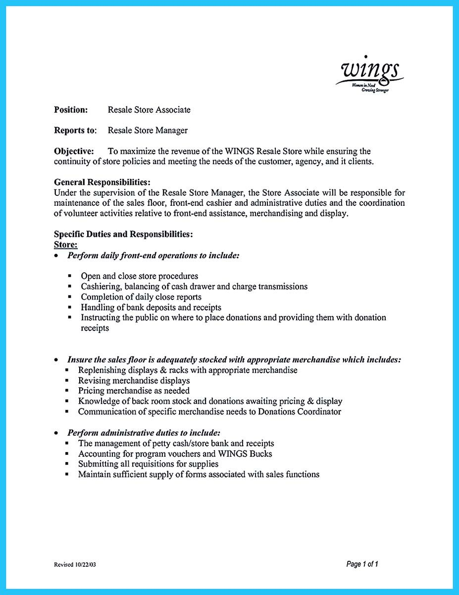Store Manager Job Description for Resume - You Can Start Writing assistant Store Manager Resume by Introducing