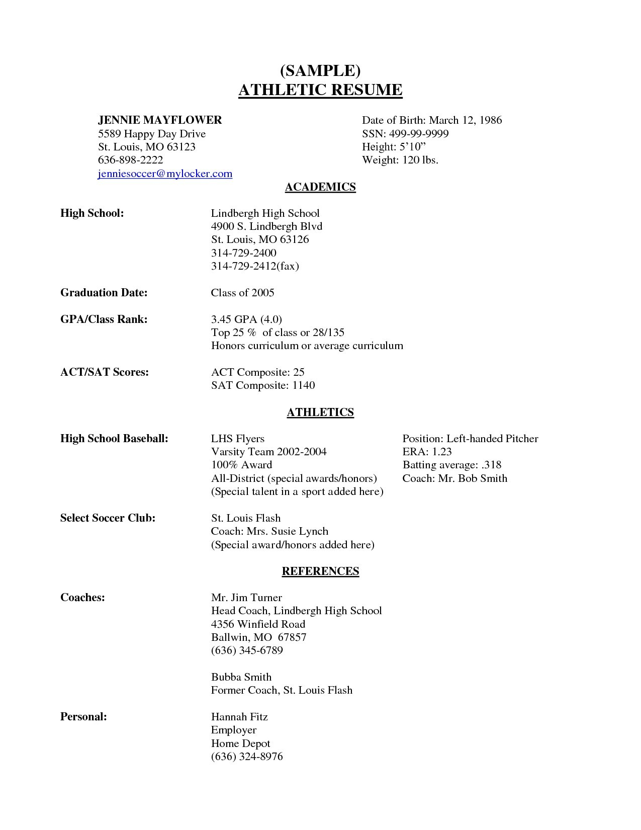 Student athlete Resume Example - Sample College Resume High School Senior New High School Student