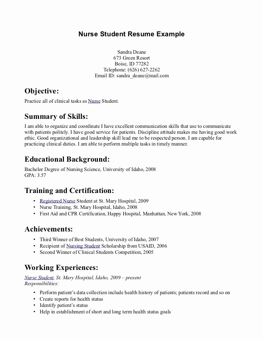 Student Nurse Resume Template Free - Student Resume Examples Best Rn Resume Sample Unique Writing A