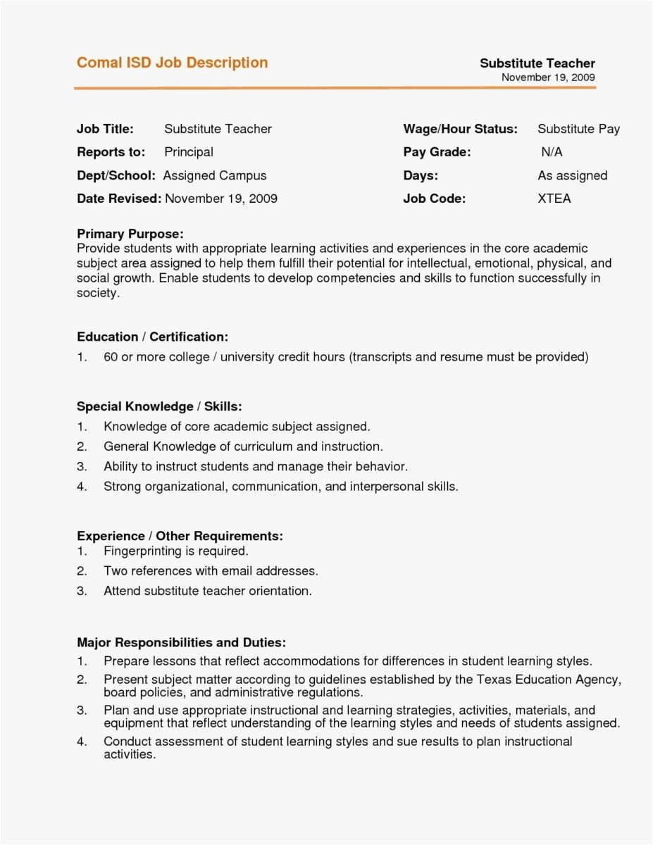 Substitute Teacher Duties for Resume - Curriculum Vitae Template for Teachers – Need Help with Resume