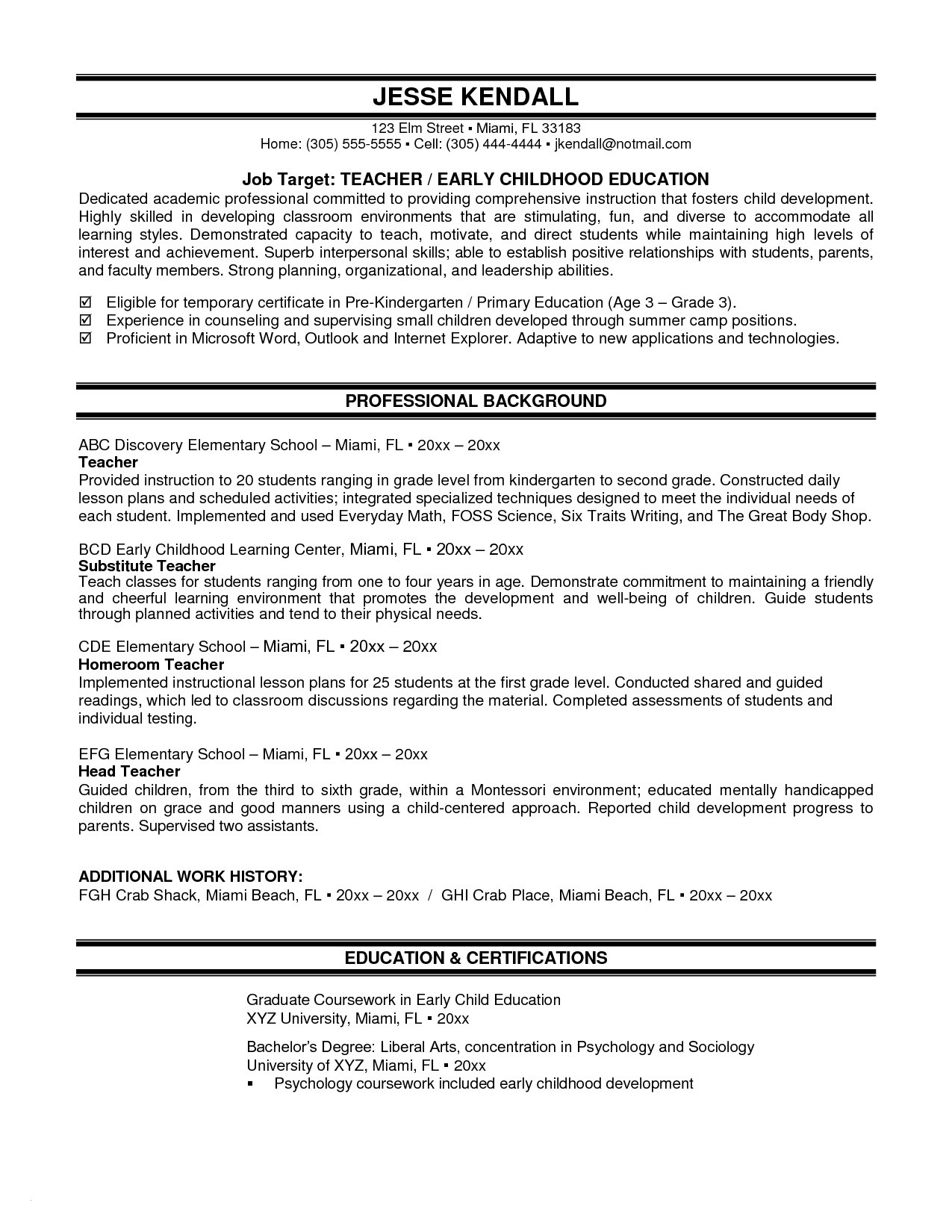 Substitute Teacher Resume Template - Substitute Teacher Resume Examples Inspirational New Elementary