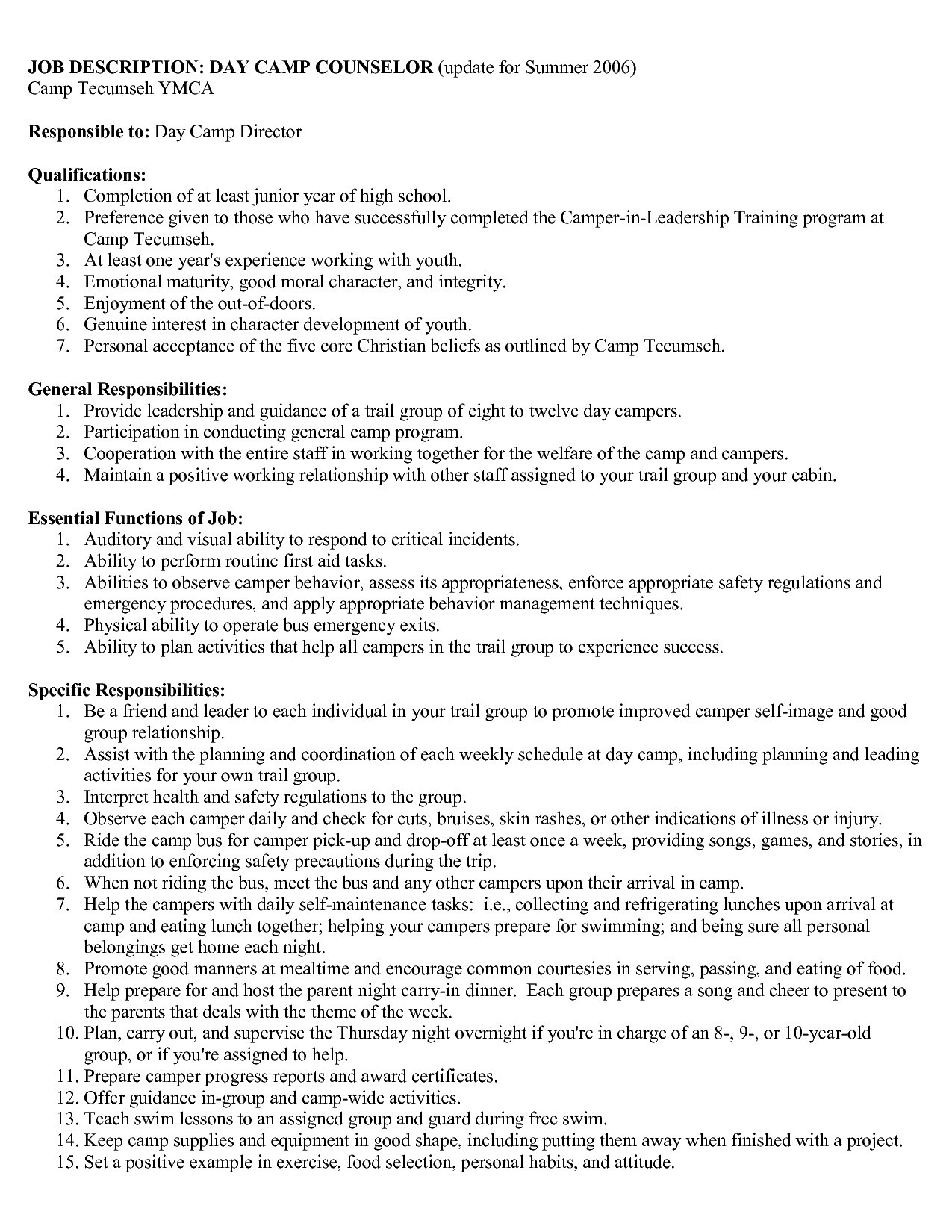 Summer Camp Counselor Responsibilities Resume - 23 Camp Counselor Resume