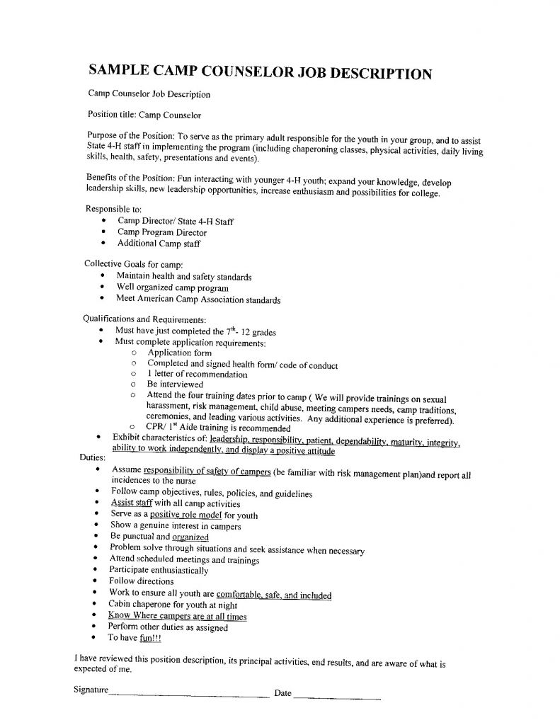 Summer Camp Counselor Responsibilities Resume - Fresh Summer Camp Counselor Resume Samples Vcuregistry