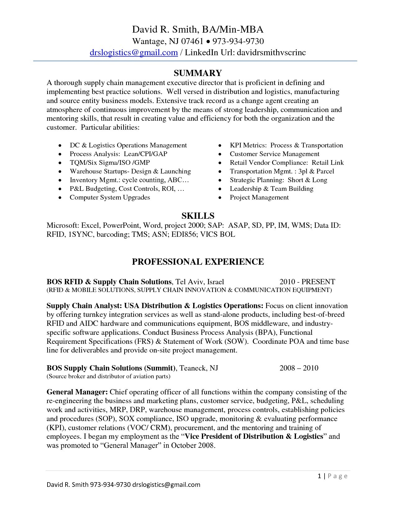 Supply Chain Resume Examples - 15 Supply Chain Resume Examples