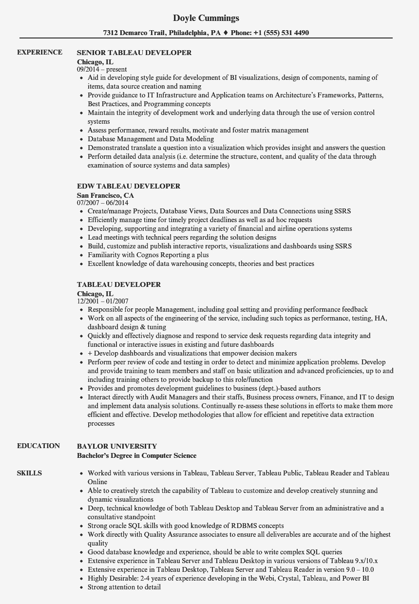 Tableau Developer Resume - Ssrs Sample Resume