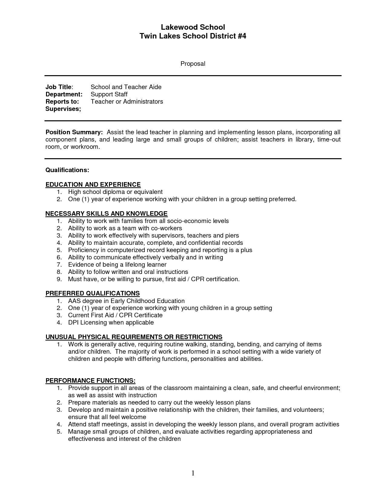 Teacher assistant Job Description for Resume - Sample Resume Teachers Aide assistant Cover Letter Teacher Sap