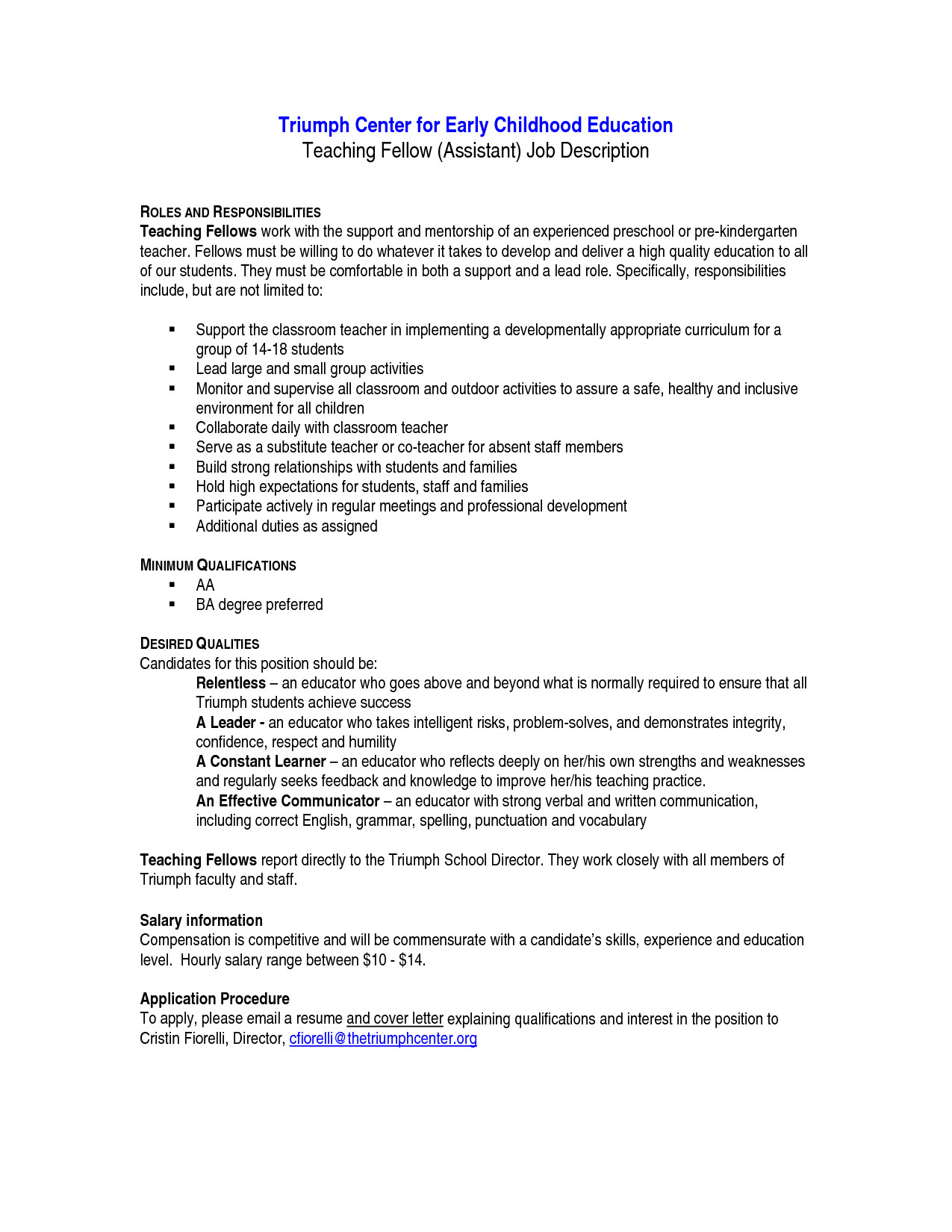 Teacher assistant Job Description for Resume - Resume Examples for Teacher Aide – Teacher Letter Interest Od