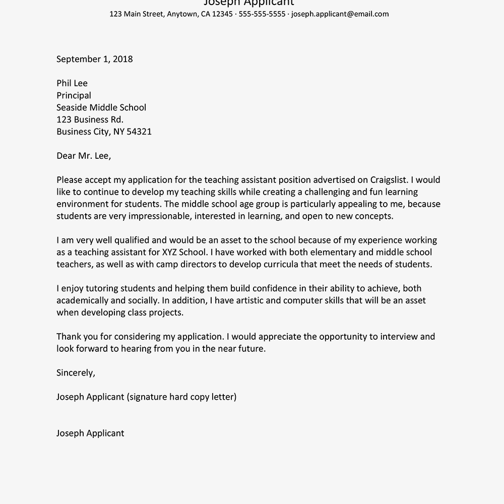 Teacher assistant Resume No Experience - Teaching assistant Cover Letter Samples