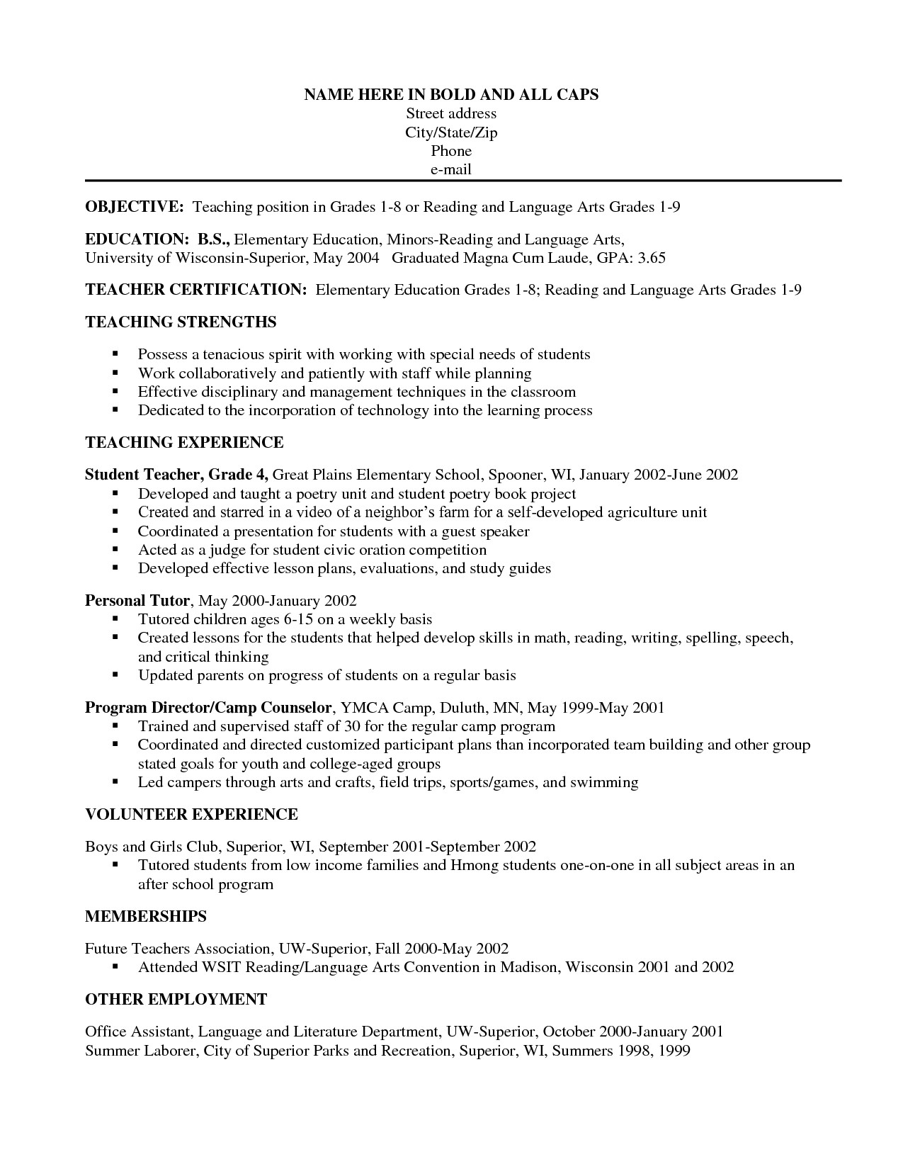 Teacher assistant Resume with No Experience - Teacher assistant Resume with No Experience