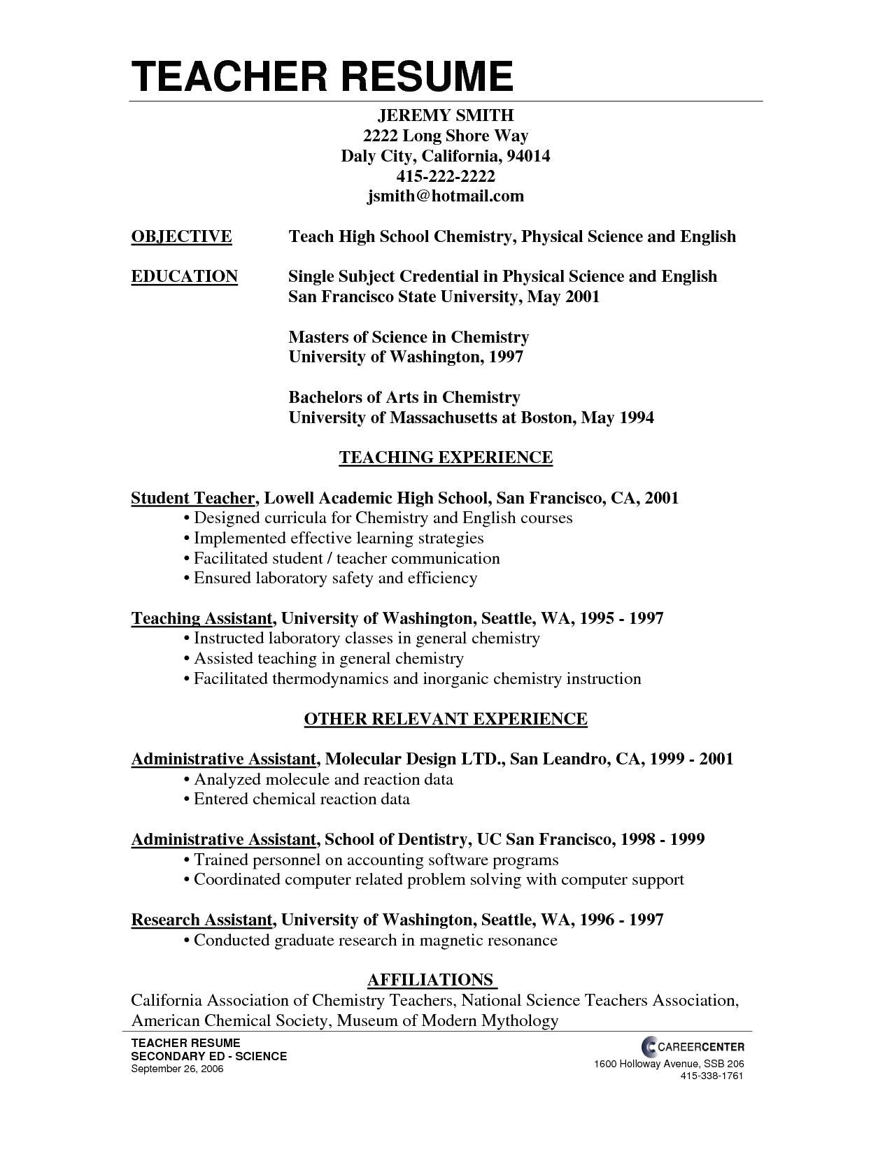 Teaching assistant Resume Template - 39 Unbelievable Teaching Resume Examples