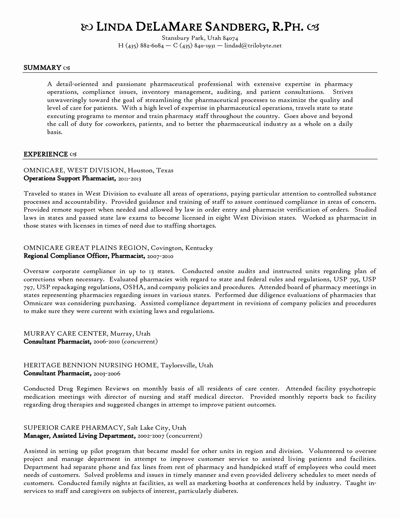 Technical Resume Template - Resume format for Experienced Technical Support Beautiful Pharmacy