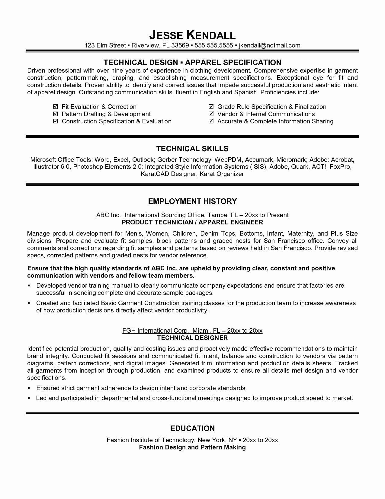 Technology Resume Template Word - Construction Resume Template Inspirational Resume Examples 0d Skills