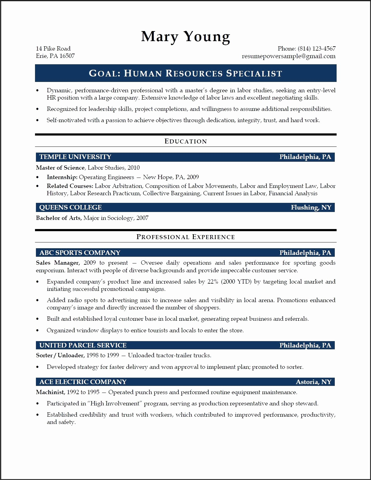 Temple University Resume Template - Military Resume Template