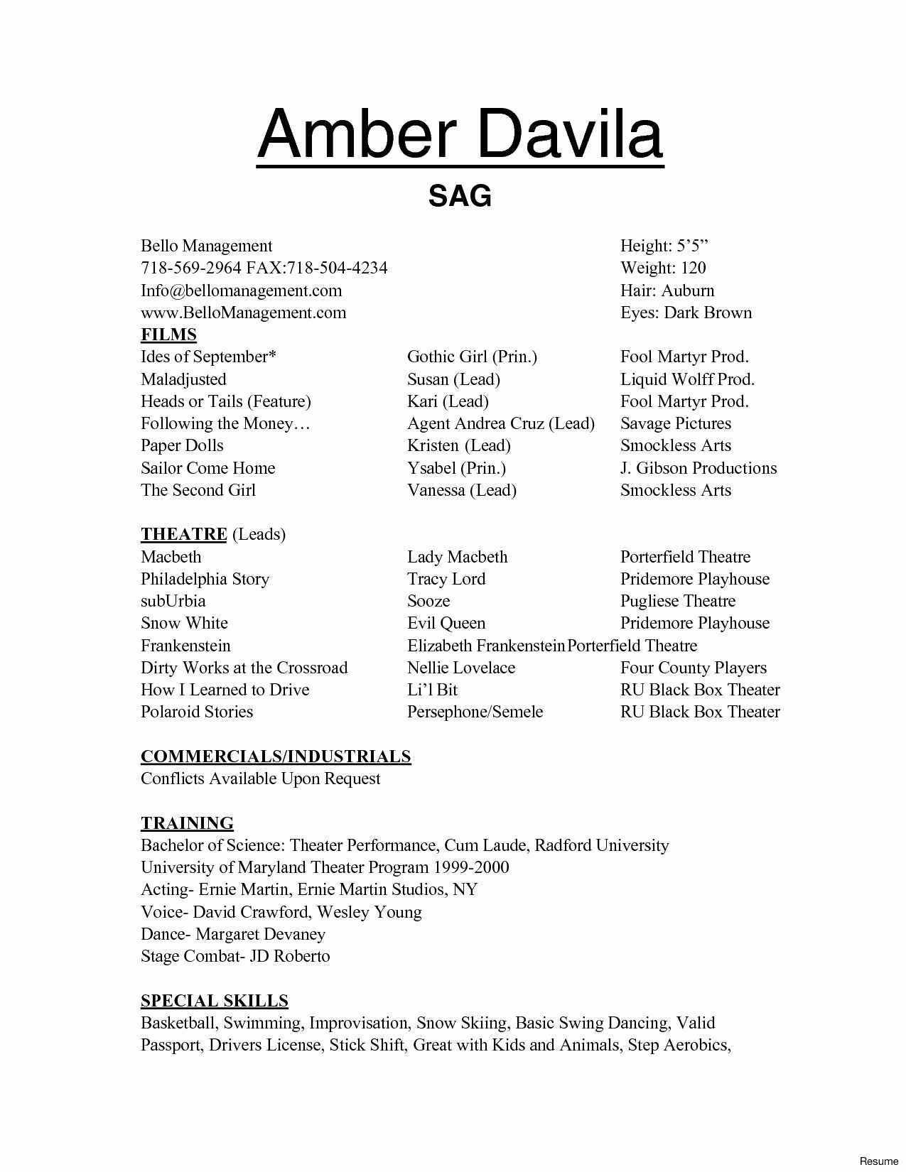 Theatre Tech Resume Template - Luxury Passport Template