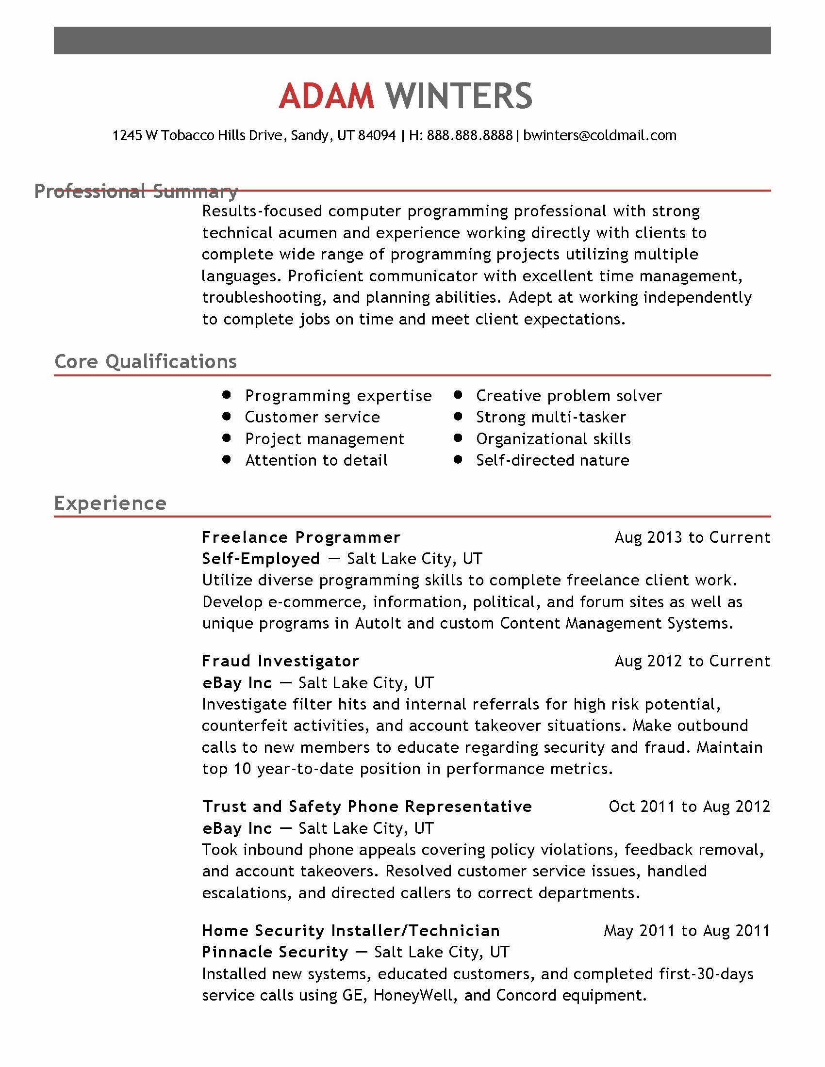 Theatre Tech Resume Template - Profile Resume Examples Unique Email Resume Template Best Executive