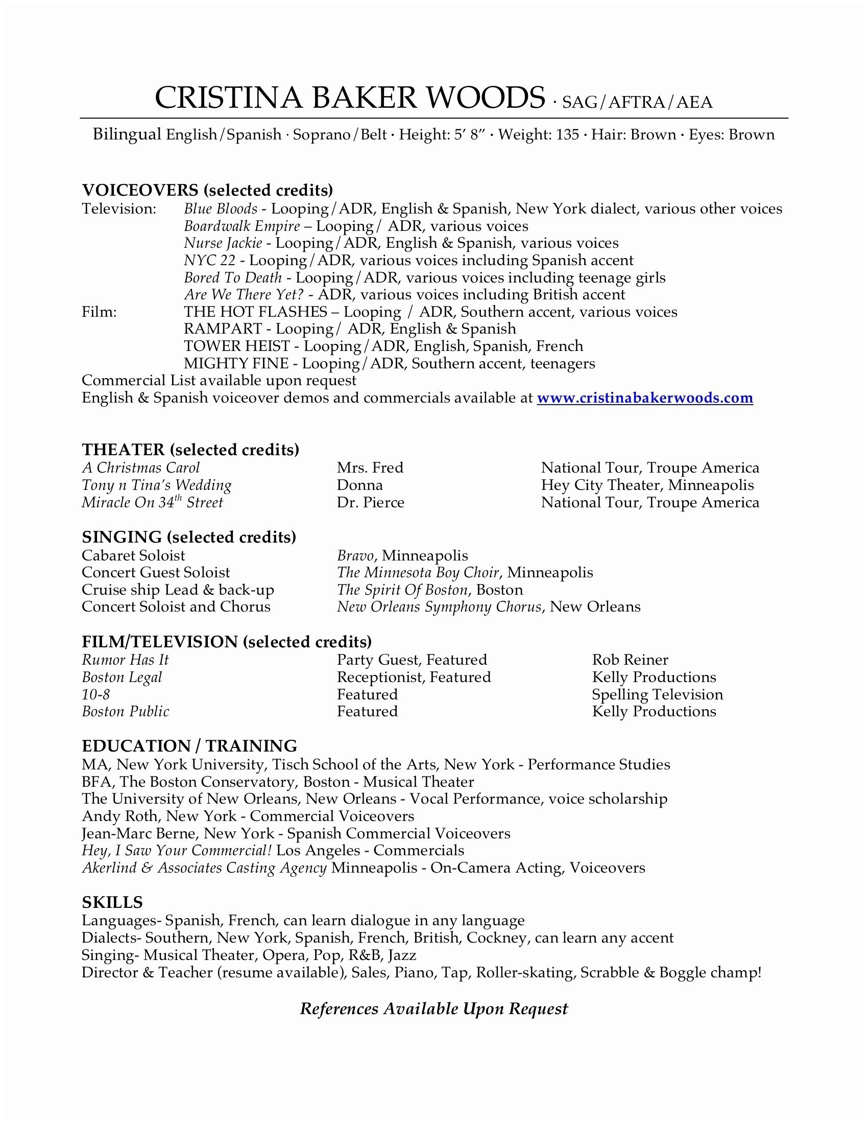 Theatrical Resume Template - Sample Musical theatre Resume New Musical theatre Resume Template
