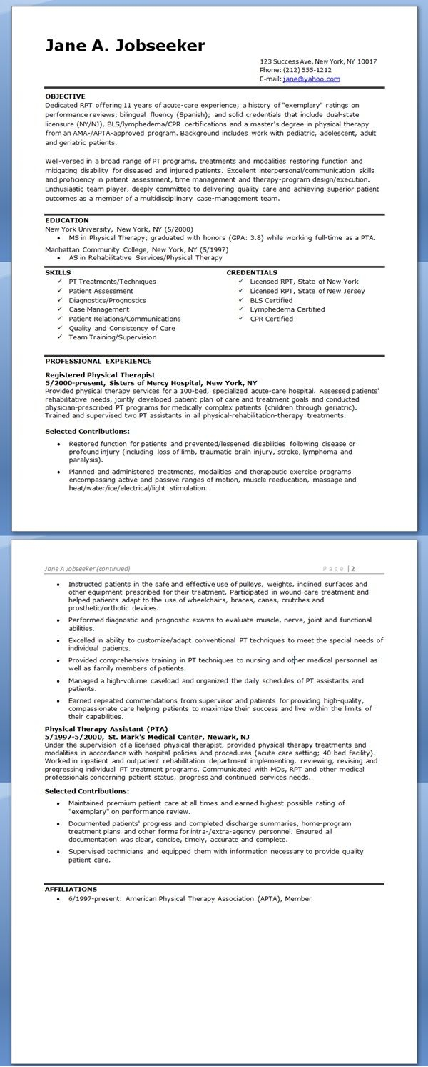 Therapist Resume Template - Physical therapist Resume Example