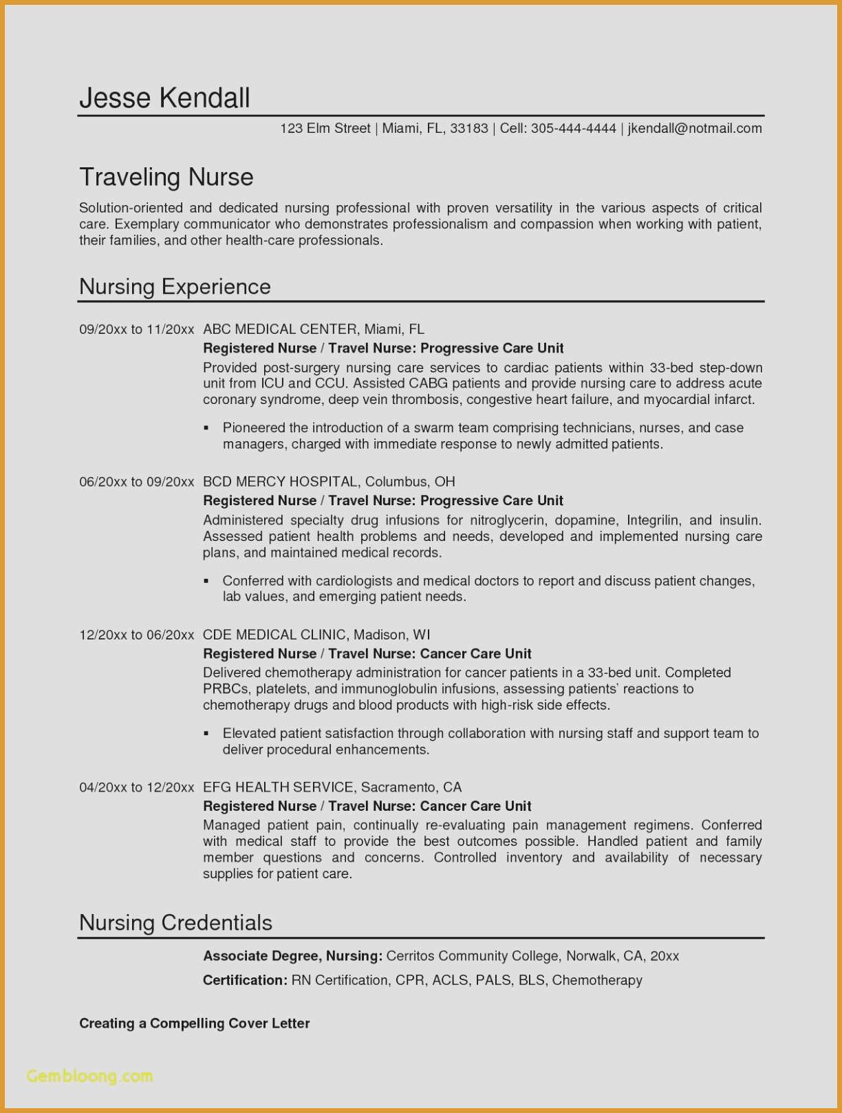 Travel Nurse Resume Template - Letter Collaboration Template Examples